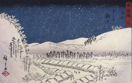 Hiroshige_Snow_falling_on_a_town