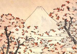 Monte Fuji attraverso la fioritura dei ciliegi, Hokusai.