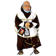 Padre Pio, pupazzo. Esempio di Kitsch: contenuto universale, di facile fruizione, prodotto su scala industriale con un design che rasenta l'orrido.